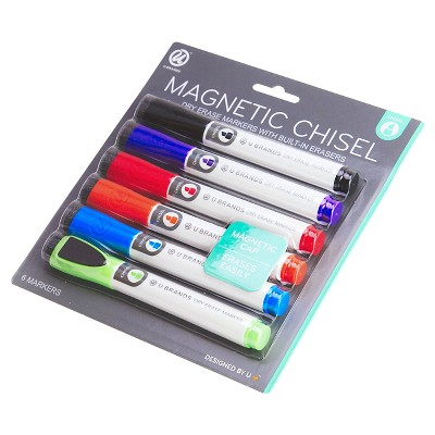 Ubrands Dry Erase Markers, Magnetic with Chisel Tip - 6ct