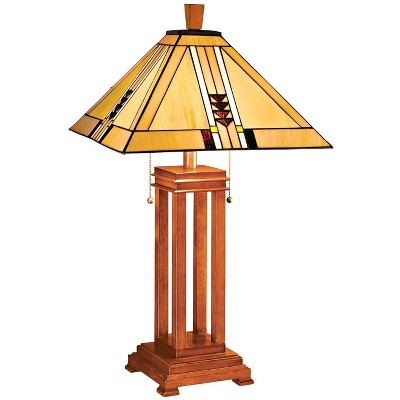 Robert Louis Tiffany Art Deco Table Lamp Oak Wood Stained Glass Shade for Living Room Family Bedroom Bedside Nightstand Office