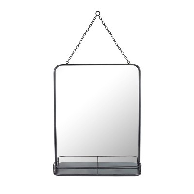 Rectangle Metal Decorative Wall Mirror with Shelf - Stonebriar Collection