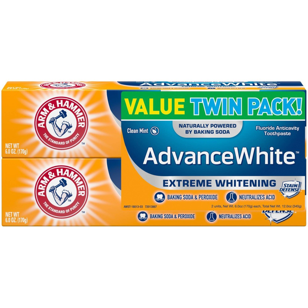 Arm and Hammer Advance White Extreme Whitening Toothpaste gives you an ultra white smile while still working hard to keep your teeth clean. It?s specially formulated with peroxide for extra whitening power. Our Stain Defense technology prevents new stains from setting. All that combined with the gentle power of Arm and Hammer Baking Soda to safely whiten gives you something to smile about. It?s specially formulated with refined dental grade baking soda to give you a noticeably whiter, brighter smile. The fluoride cavity protection and enamel strengthening formula removes more plaque in hard to reach places than a non-baking soda toothpaste. You get a deep clean that penetrates in between teeth and along the gum line to remove plaque and stains. It also includes a tartar control agent that helps keep tartar from forming. It?s a low abrasion formula, so the enamel won?t be damaged. The baking soda also neutralizes acids that weaken and erode enamel. Your teeth will look whiter and healthier and you?ll know they?re getting a deep clean. Plus, the Clean Mint flavor leaves your breath fresh. Includes two 6 oz. tubes of Arm and Hammer Advance White Extreme Whitening Toothpaste. For stronger, healthier teeth and gums*, choose Arm and Hammer Baking Soda toothpastes. Versatile and affordable. Gentle yet powerful. For generations of families, Arm and Hammer Baking Soda has been the standard of purity, and a trusted household staple in millions of cabinets and pantries. Our toothpastes and many of our personal care products are made with Arm and Hammer Baking Soda, delivering the quality you can count on, from the brand you trust. *when used as part of a complete brushing routine Size: 2. Gender: unisex. Age Group: adult.