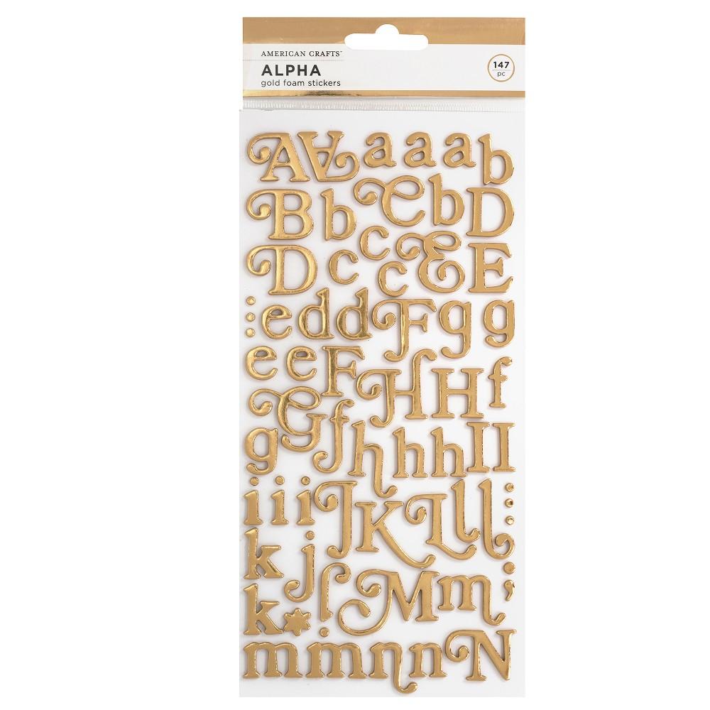 147pc Foam Stickers Alpha Gold - American Crafts