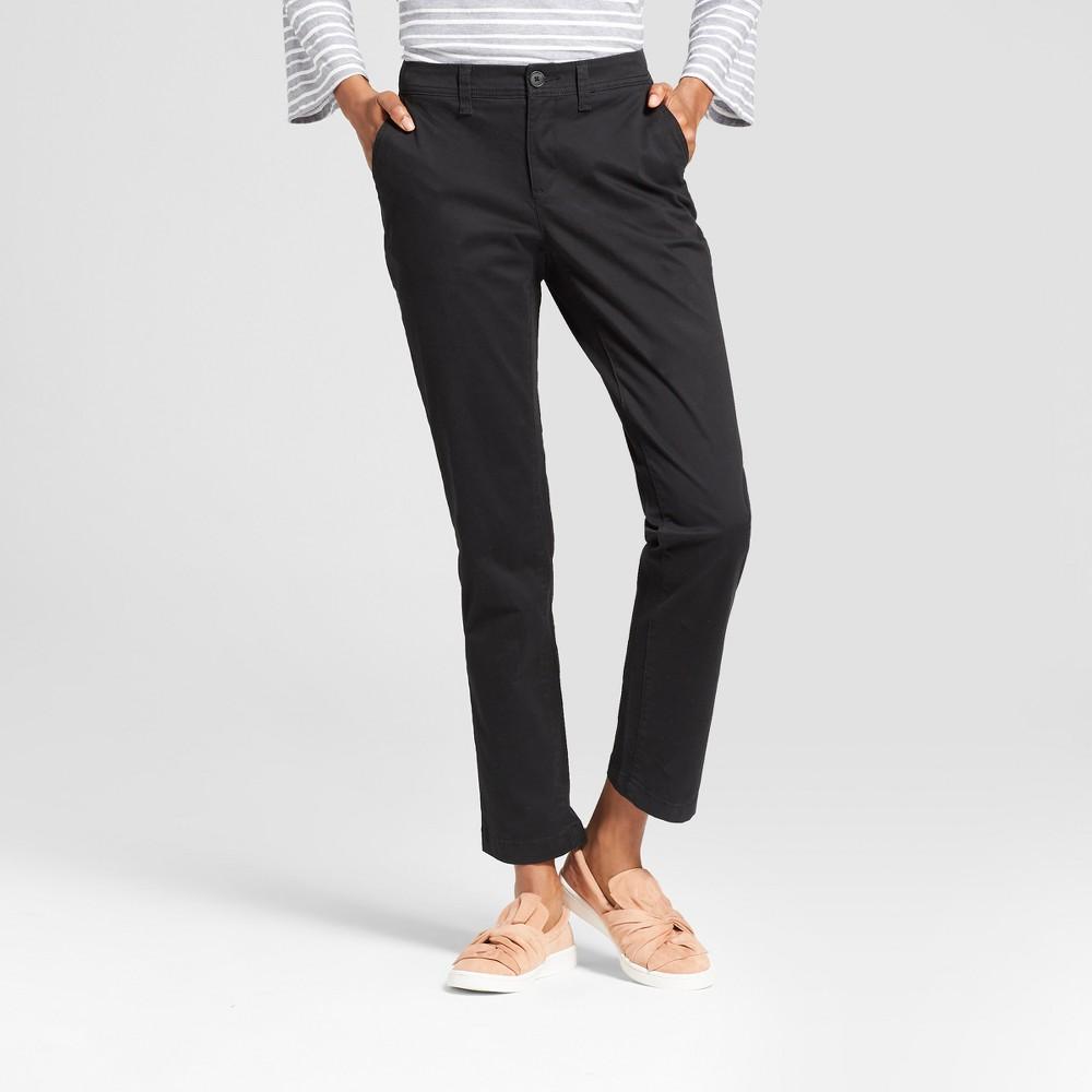 Women's Slim Chino Pants - A New Day Black 12