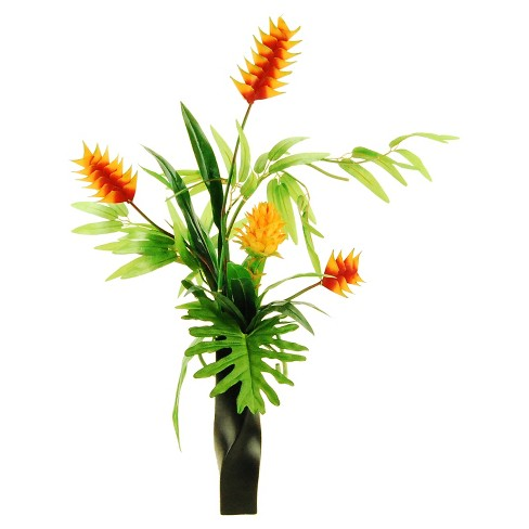 """Artificial Mixed Floral/Plant Arrangement Orange 32"""" - LCG Florals - image 1 of 1"""