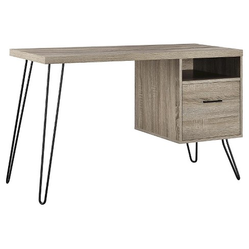 Seasons Hairpin Computer Desk Sonoma Oak/ Gunmetal Gray - Room & Joy - image 1 of 4