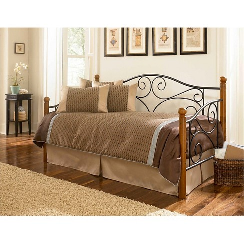 Doral Daybed with Link Spring Matte Black/Walnut (Twin) - Fashion Bed Group - image 1 of 1