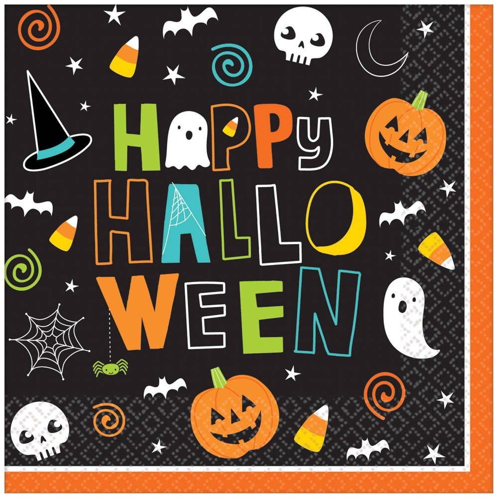Image of 125ct Halloween Friends Beverage Disposable Napkins
