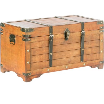 Vintiquewise Rustic Large Wooden  Storage Trunk with Lockable Latch