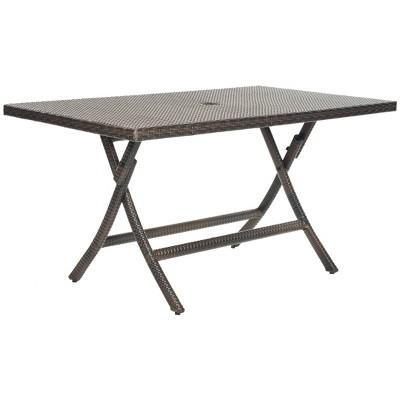 Asinara Rectangle Wicker Folding Patio Dining Table - Brown - Safavieh®  Target  sc 1 st  Target & Asinara Rectangle Wicker Folding Patio Dining Table - Brown ...