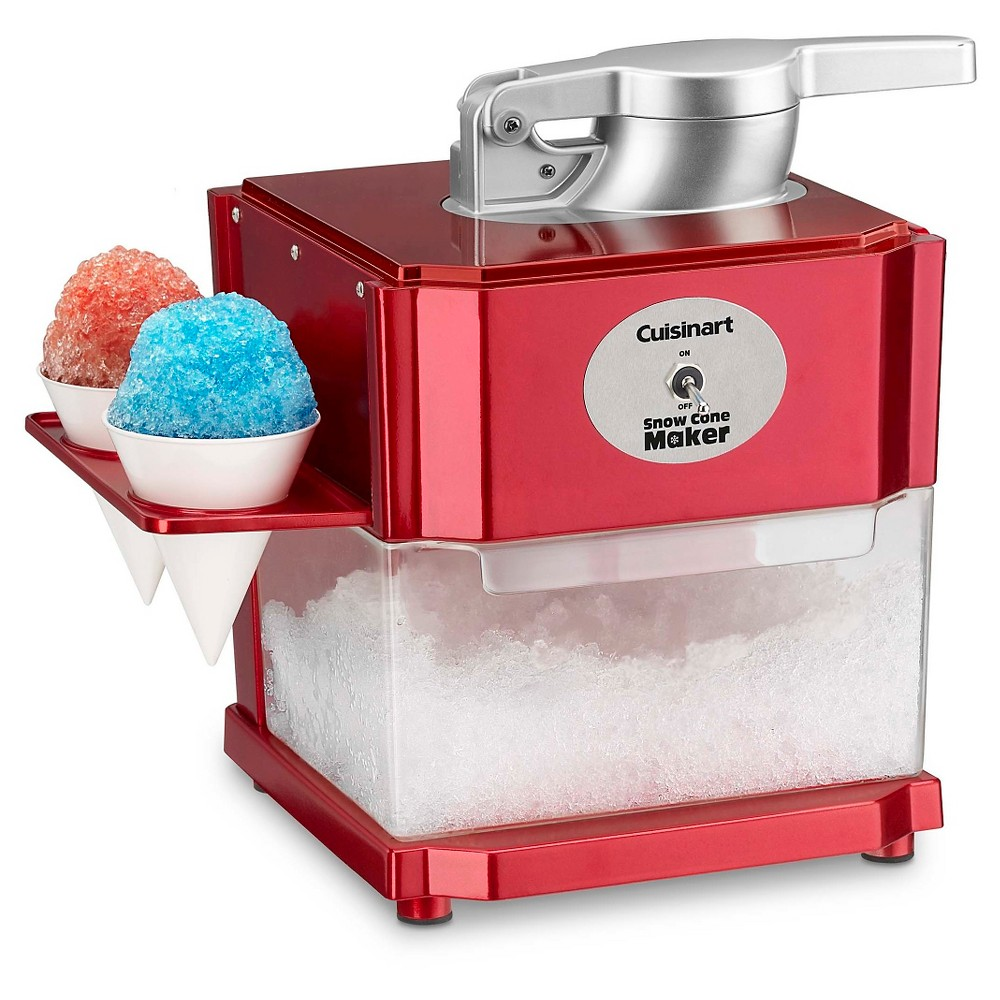 Cuisinart Snow Cone Maker - Red Scm-10 All you need is ice, flavored syrup and a Cuisinart Snow Cone maker to enjoy fun, icy treats at home, any time! It's easy and safe to operate, too. Color: Red.