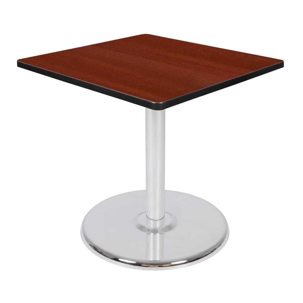 30 Via Square Platter Base Table Cherry/Chrome (Red/Grey) - Regency