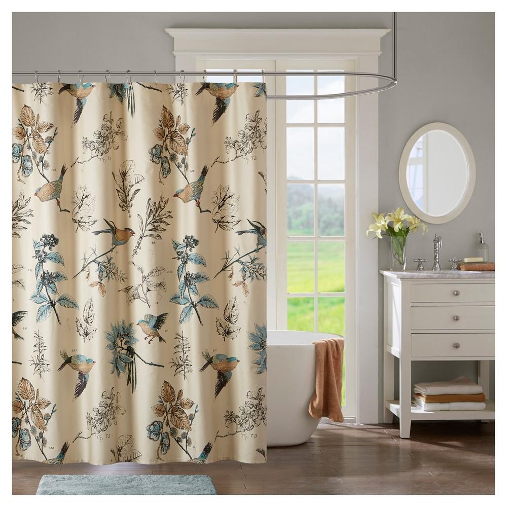 Ramsey Birds Cotton Printed Shower Curtain Khaki (Green)