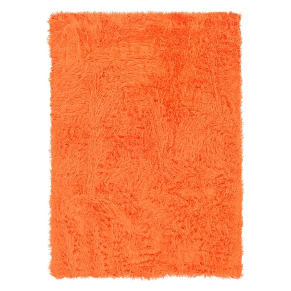 "Image of ""Faux Sheepskin Accent Rug - Orange (22""""x34"""")"""