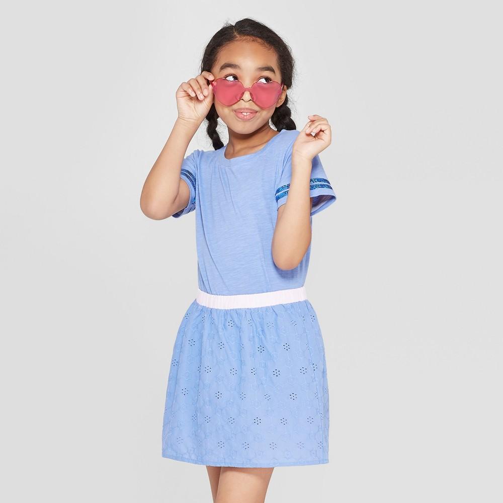 Girls' Short Sleeve Sequin Striped T-Shirt - Cat & Jack Blue XL