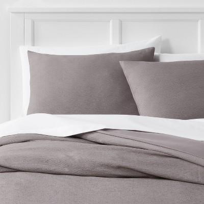 3pc Full/Queen Microfiber Textured Duvet Cover & Sham Set Dark Gray - Room Essentials™
