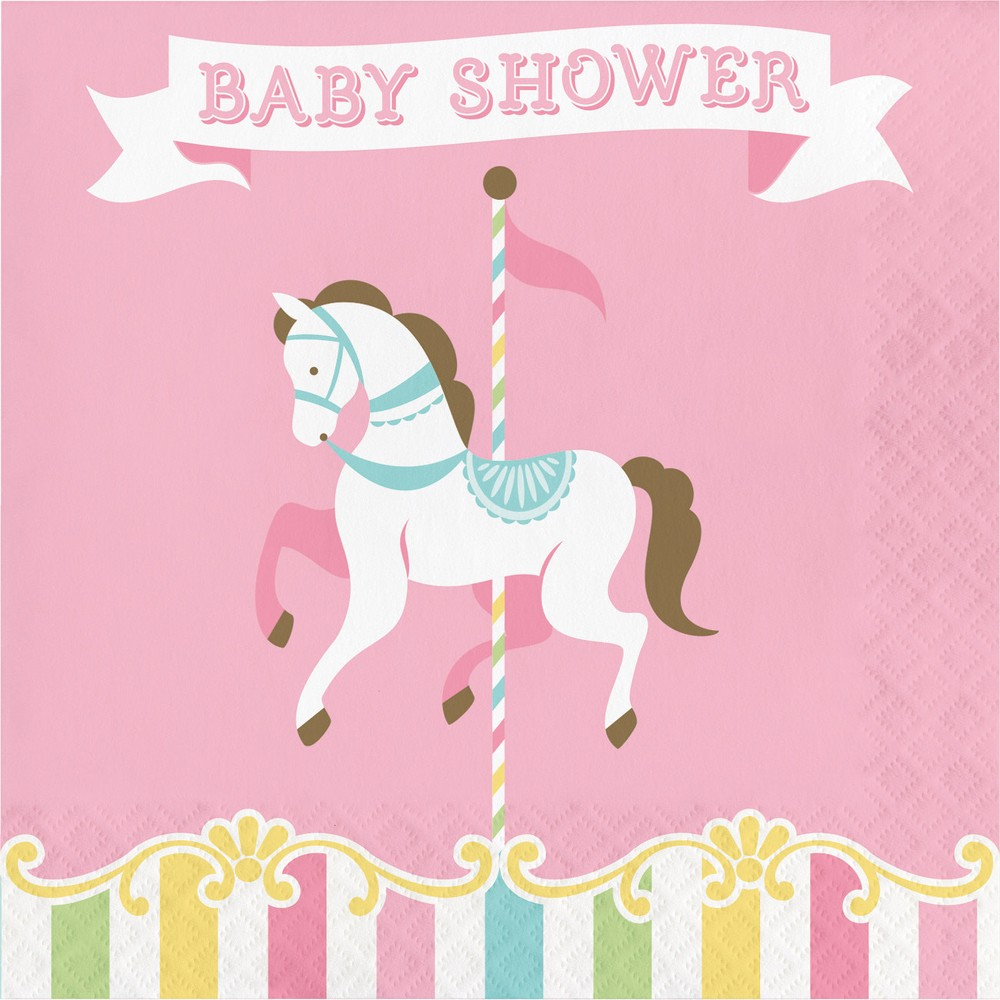 Image of 16ct Creative Converting Carousel Baby Shower Napkins