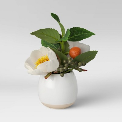 Artificial Citrus Floral Plant in Ceramic Pot White - Threshold™