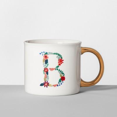 Monogrammed Porcelain Floral Mug B 16oz White/Gold - Opalhouse™