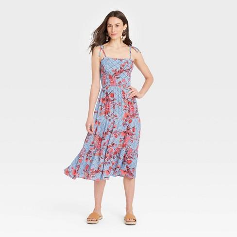 Women's Tie-Strap Smocked Dress - Knox Rose™ - image 1 of 3