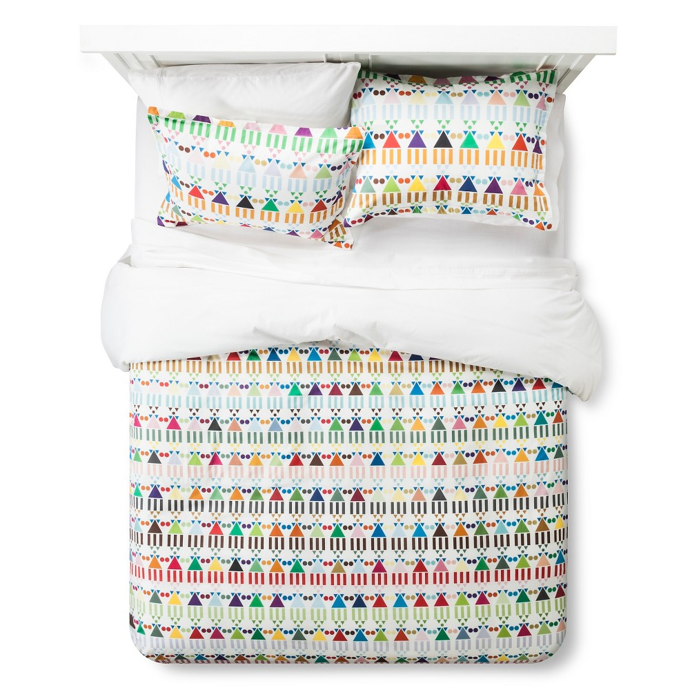 Image of Artwork Series: 'African Houses' by Stephanie Specht Duvet Cover Set (Full/Queen) - AiR, Multicolored