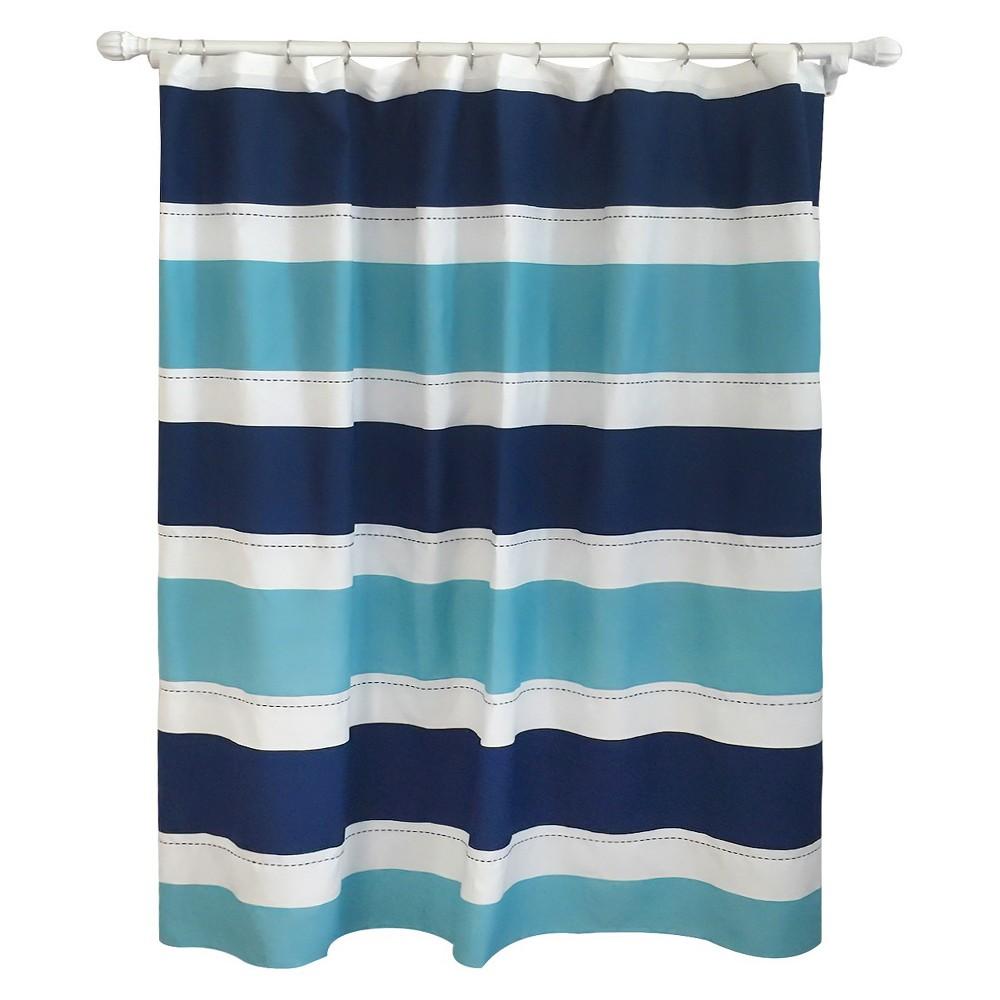 Cool Rugby Stripe Shower Curtain Blue Lake - Pillowfort