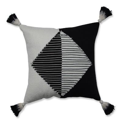 Linear Diamond Square Throw Pillow Black/White - Pillow Perfect