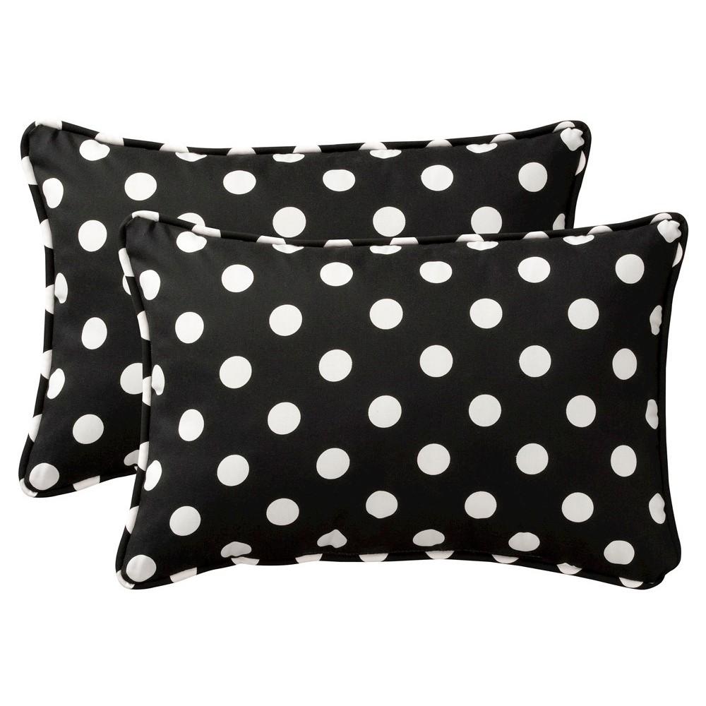 2 Piece Outdoor Toss Pillow Set Black White Polka Dot 24