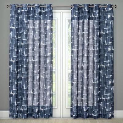 Light Filterning Curtain Panel Brush Stroke Blue 84  - Project 62™