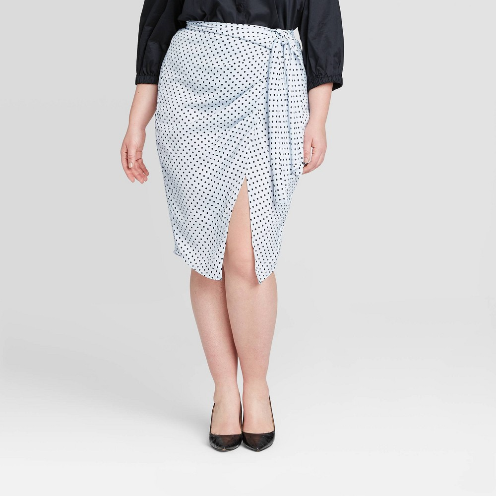 Women's Plus Size Polka Dot A-Line Midi Skirt - Who What Wear Blue 22W was $29.99 now $13.49 (55.0% off)
