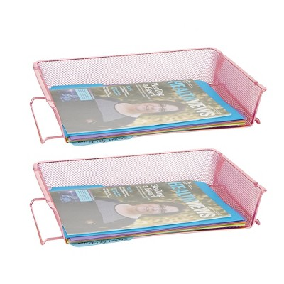 2pc Stackable Letter Tray Mesh Pink - Mind Reader