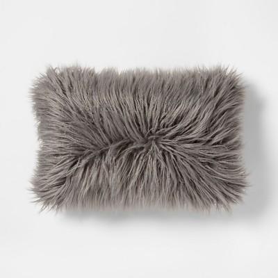 Faux Fur Lumbar Pillow Gray - Makers Collective
