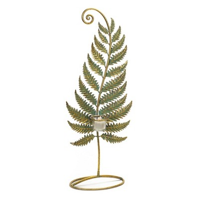 "Melrose 24.5"" Golden Patina Standing Fern with Votive Cup Table Top Decoration"