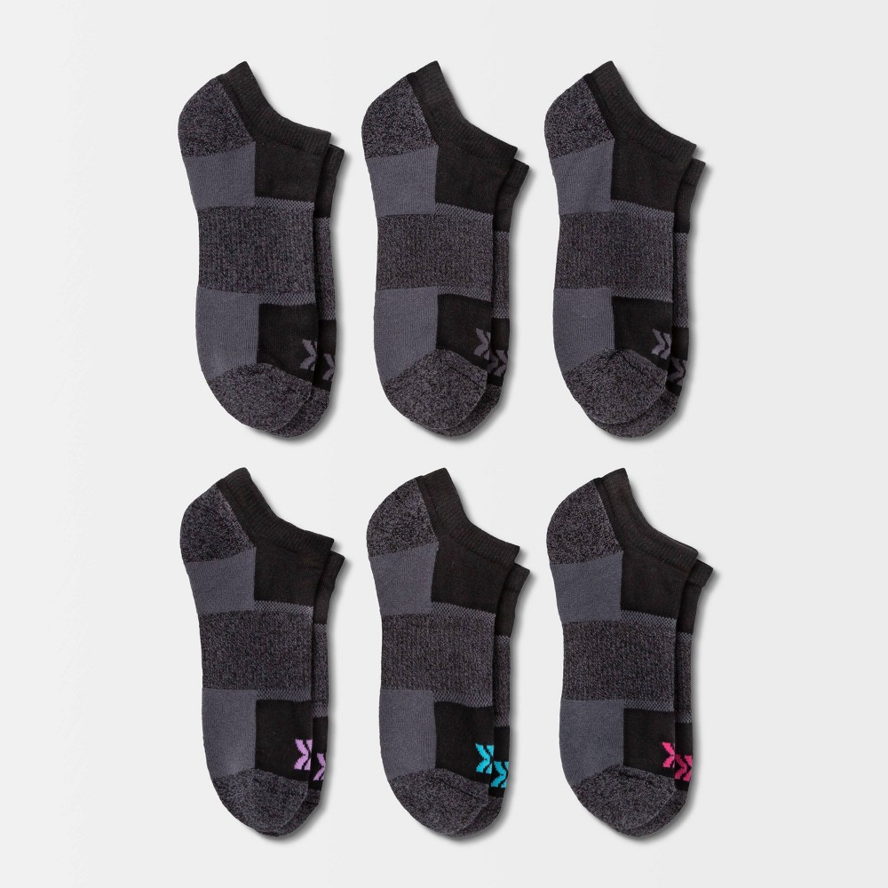 Women 39 S Cushioned Marled Arch 6pk No Show Athletic Socks All In Motion 8482 Black 4 10