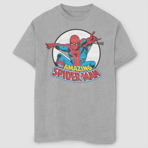Boys' Marvel Flying Spider-Man Short Sleeve T-Shirt- Athletic Heather - image 1 of 1