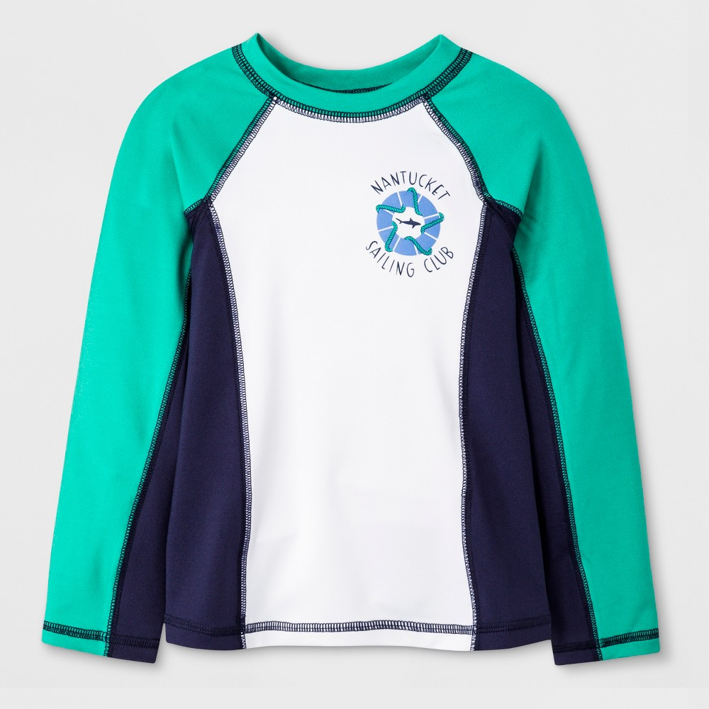 Toddler Boys' Long Sleeve Rash Guard - Cat & Jack Aqua 3T, Blue