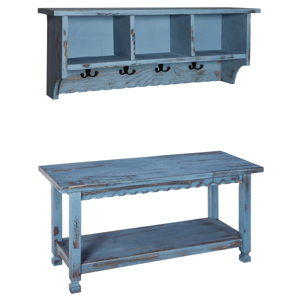 "Image of ""36"""" Rustic Cottage Coat Hooks and Storage Bench Set Blue - Alaterre Furniture"""
