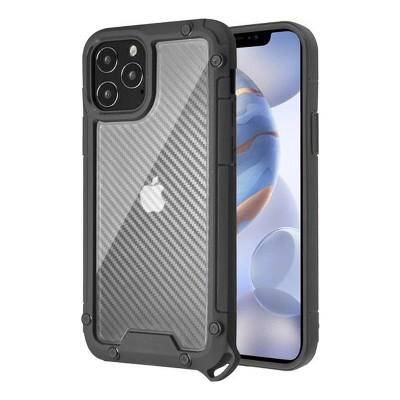 Asmyna Carbon Fiber Dual Layer Hybrid PC/TPU Rubber Transparent Case Cover Compatible With Apple iPhone 12 Series