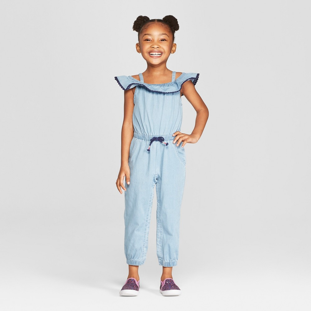 Genuine Kids from OshKosh Toddler Girls' Off the Shoulder Denim Romper - Blue 5T