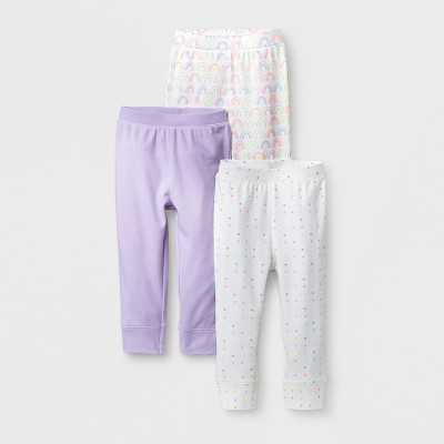Baby Girls' 3pk Rainbow/Dots/Solid Pants - Cloud Island™ White 6-9M