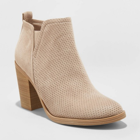Women's Avalyn Microsuede Laser Cut Bootie - Universal Thread™ Taupe - image 1 of 3