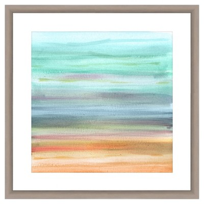 """18"""" x 22"""" Matted to 2"""" Pastel Paint Brushes I Picture Framed Brown - PTM Images"""