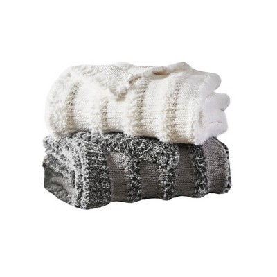 Ava Chenille and Faux Fur Throw Blanket Ivory