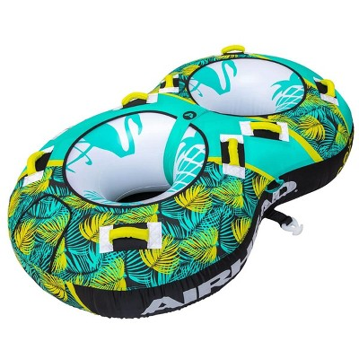 Airhead BLAST 2 Inflatable Open Top 2-Person Towable Water Tube with Knuckle Guard Handles and Dual Tow Points, Tropical Green