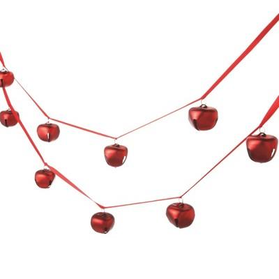 Ganz 6' Unlit Red Jingle Bell Christmas Garland