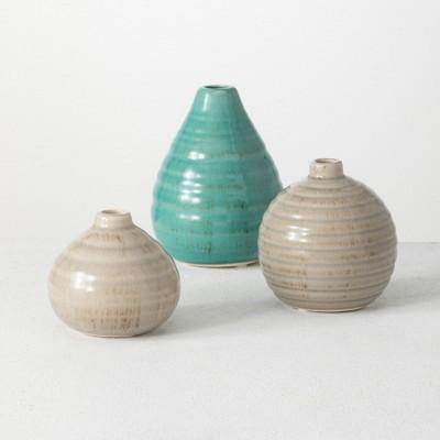 """Sullivans Set of 3 Ceramic Vases 5.75""""H, 4.25""""H & 3""""H Brown and Blue"""