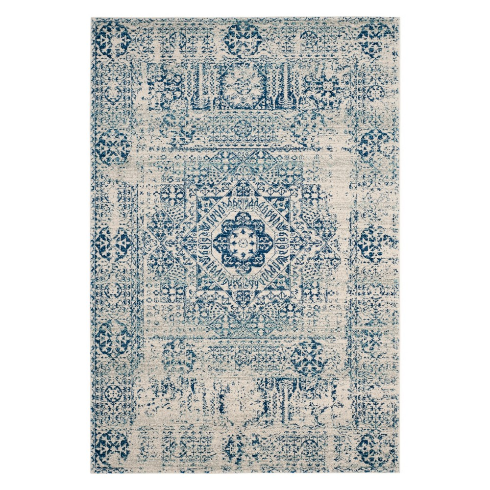 Medallion Loomed Area Rug Ivory/Blue