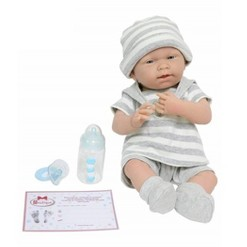 "JC Toys La Newborn 15"" Boy Doll - Light Gray Striped Outfit"
