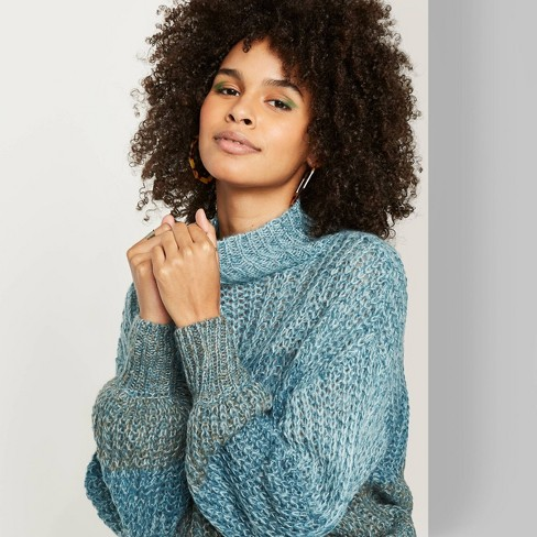 Women's Long Sleeve Mock Turtleneck Ombre Sweater - Wild Fable™ Teal - image 1 of 3