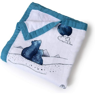 """JumpOff Jo - Swaddle Baby Blanket - 47"""" x 47"""" - Bamboo and Cotton - Mama Bear in Blue"""