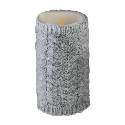 """Allstate Floral 6"""" Gray Faux Sweater Wrapped Flameless Pillar Candle - Battery Operated"""