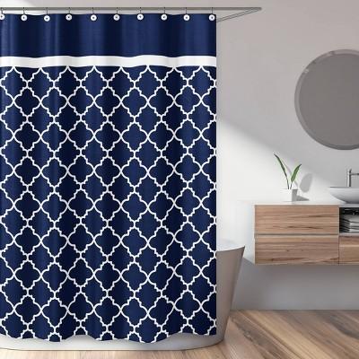 Trellis Shower Curtain Navy - Sweet Jojo Designs